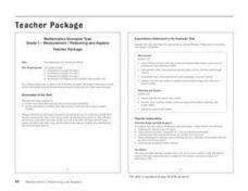 Measurement/Patterning and Algebra Lesson Plan