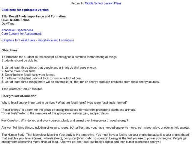 Fossil Fuels Importance And Formation Lesson Plan For 6th