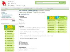 Learning About The Dictionary Lesson Plan