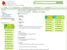 Word Scramble - Bodies of Water Lesson Plan