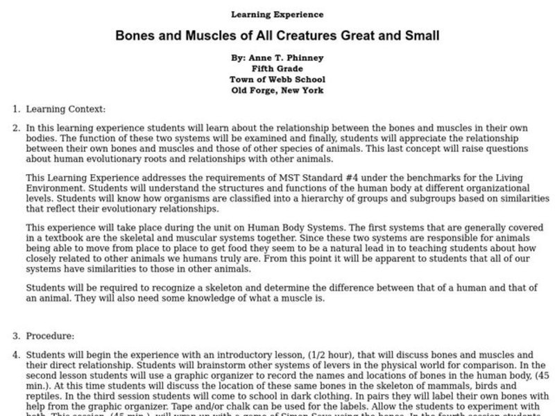 Bones and Muscles of All Creatures Great and Small Lesson Plan