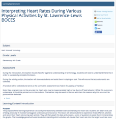 Interpreting Heart Rates During Various Physical Activities Lesson Plan