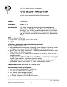 Food Security/Insecurity Lesson Plan