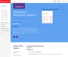 Quotation Response Speech: Public Speaking Skills Lesson Plan