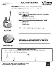 Boombox Classroom: Migration of Music Worksheet