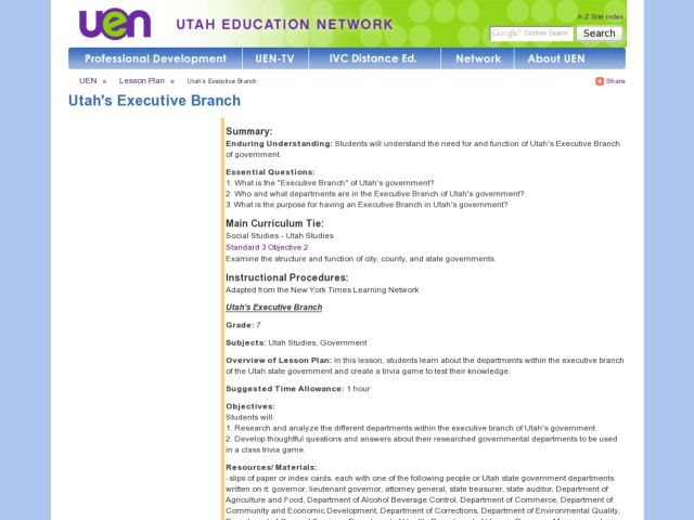 Utah's Executive Branch Lesson Plan