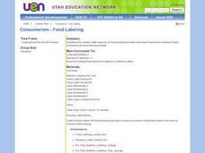Consumerism - Food Labeling Lesson Plan