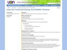 Comp Tech: Format Cells Scavenger Hunt Lesson Plan