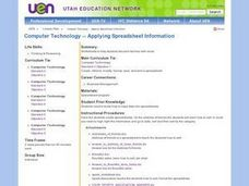 Comuter Technology-Applying Spreadsheet Information Lesson Plan