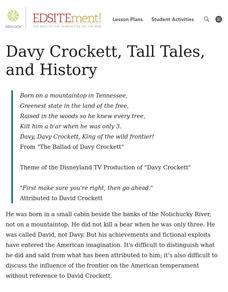 Born on a Mountaintop? Davy Crockett, Tall Tales, and History Lesson Plan