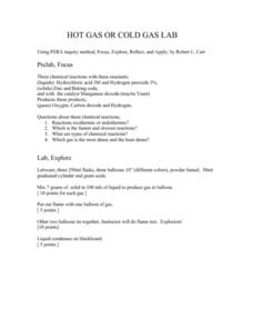 Hot Gas Or Cold Gas Lab Lesson Plan