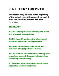Critter? Growth Lesson Plan