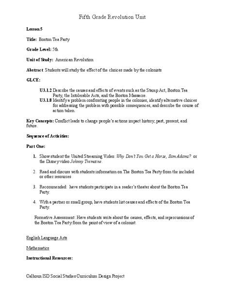 Boston Tea Party 5th Grade Lesson Plan | Lesson Planet