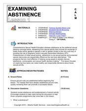 Examining Abstinence Lesson Plan