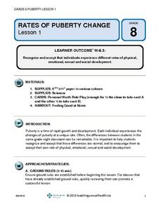 Rates of Puberty Change Lesson Plan