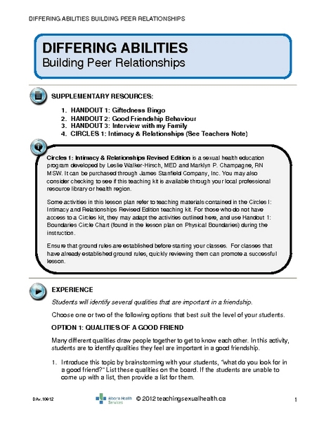 Building Peer Relationships Lesson Plan