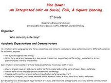Hoe Down: An Integrated Unit on Social, Folk & Square Dancing Lesson Plan