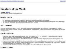 Creature of the Week Lesson Plan