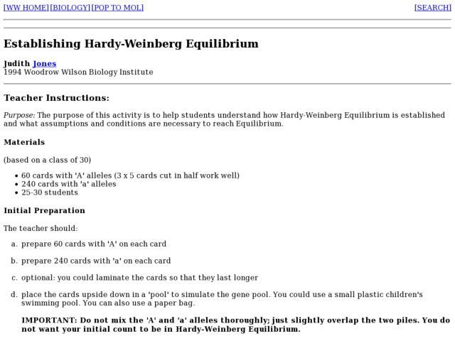 Hardy Weinberg Equilibrium Lesson Plans Worksheets