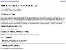 Lab Experiences:  The cookbook Translator Lesson Plan