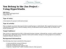 You Belong in the Zoo Project - Using HyperStudio Lesson Plan