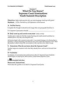 What Do You Know? Supreme Court Nominations Lesson Plan