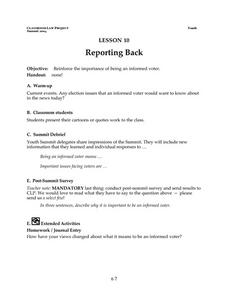 Reporting Back Lesson Plan