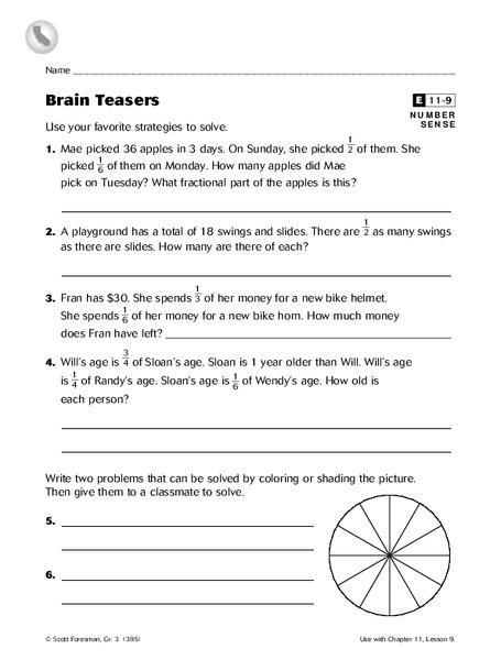 Brain Teasers Worksheet For 3rd 5th Grade