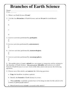 Branches of Earth Science Worksheet for 5th - 10th Grade ...