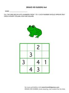 Brave Kid Sudoku 4x4 Worksheet