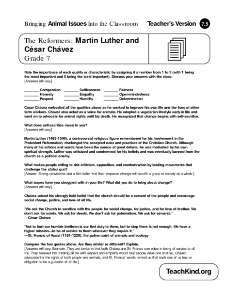 The Reformers: Martin Luther and César Chávez 7th Grade Worksheet ...