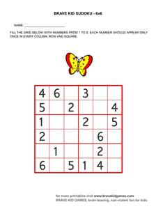 Brave Kid Sudoku 6x6 Worksheet