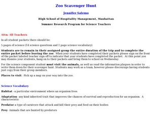 Zoo Scavenger Hunt Lesson Plan