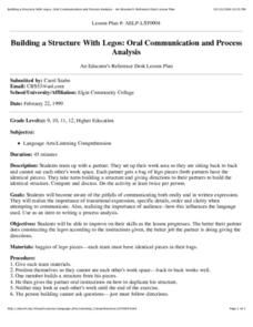 Building a Structure With Legos: Oral Communication and Process Analysis Lesson Plan