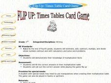 Flip Up: Times Table Card Game Lesson Plan