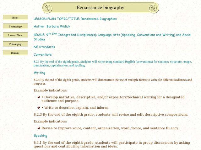 Renaissance Biographies Lesson Plan for 9th - 10th Grade