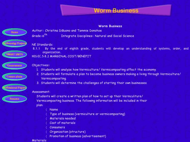 Worm Business Lesson Plan