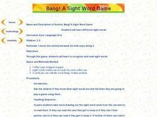 Bang! A Sight Word Game Lesson Plan
