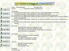 Descriptive Paragraph Presentation Lesson Plan