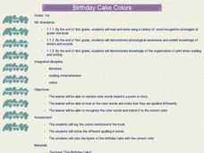 Birthday Cake Colors Lesson Plan