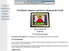 Vocabulary Squares and Forces Shaping the Earth Lesson Plan