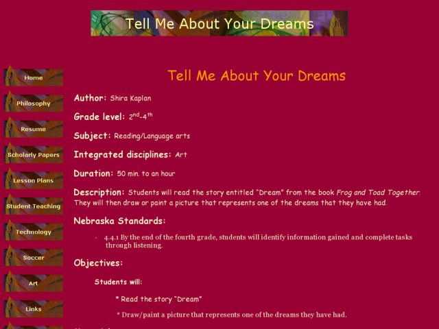 Tell Me About Your Dreams Lesson Plan
