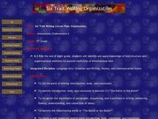 Six-Trait Writing Lesson Plan: Organization Lesson Plan