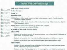 Words and Their Meanings Lesson Plan