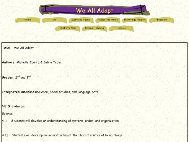 We All Adapt Lesson Plan