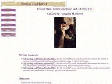 Romeo and Juliet Act II Scenes v-vi Lesson Plan