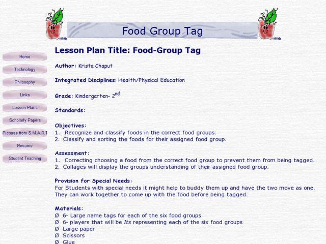 Food-Group Tag Lesson Plan for Kindergarten - 2nd Grade