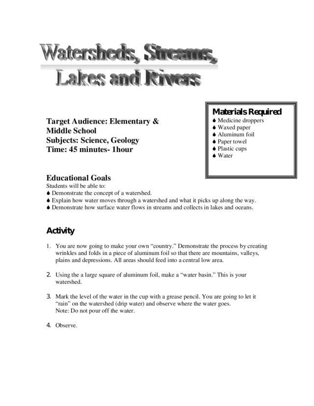 watershed worksheet 7th grade science watershed best free printable worksheets. Black Bedroom Furniture Sets. Home Design Ideas