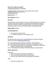 How Do I Write an Essay?: Understanding Parts of an Essay Lesson Plan