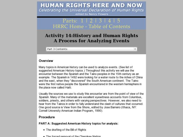History and Human Rights:   A Process for Analyzing Events Lesson Plan